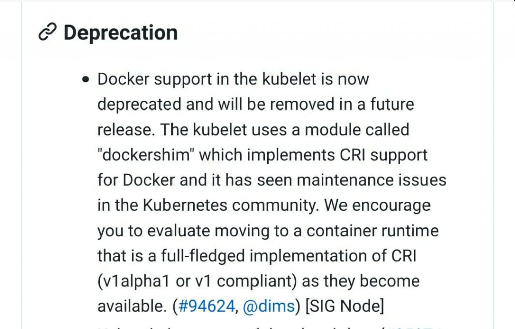 Docker support in the kubelet is now deprecated and will be removed in a future release.